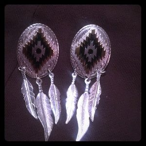 Silver western earrings